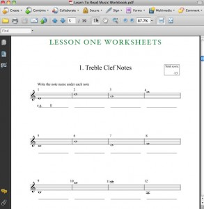 How To Read Music Lesson 1 worksheet