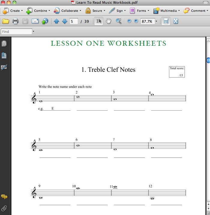 Learn How To Read Music – Learn to Read Worksheets