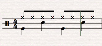 Hi hat snare kick drum notation