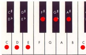 piano keyboard whole tone scale