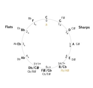 Circle of Fifths with A minor added diagram