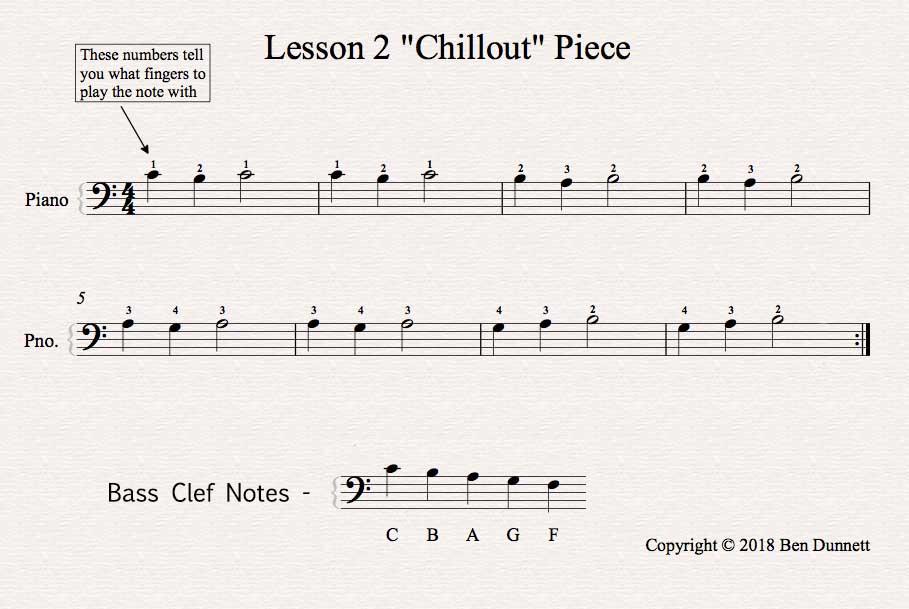 Piano Lesson 2 Chillout piece sheet music score