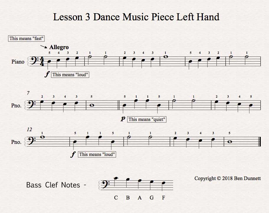 Piano Lesson 3 piece Bass Clef sheet music