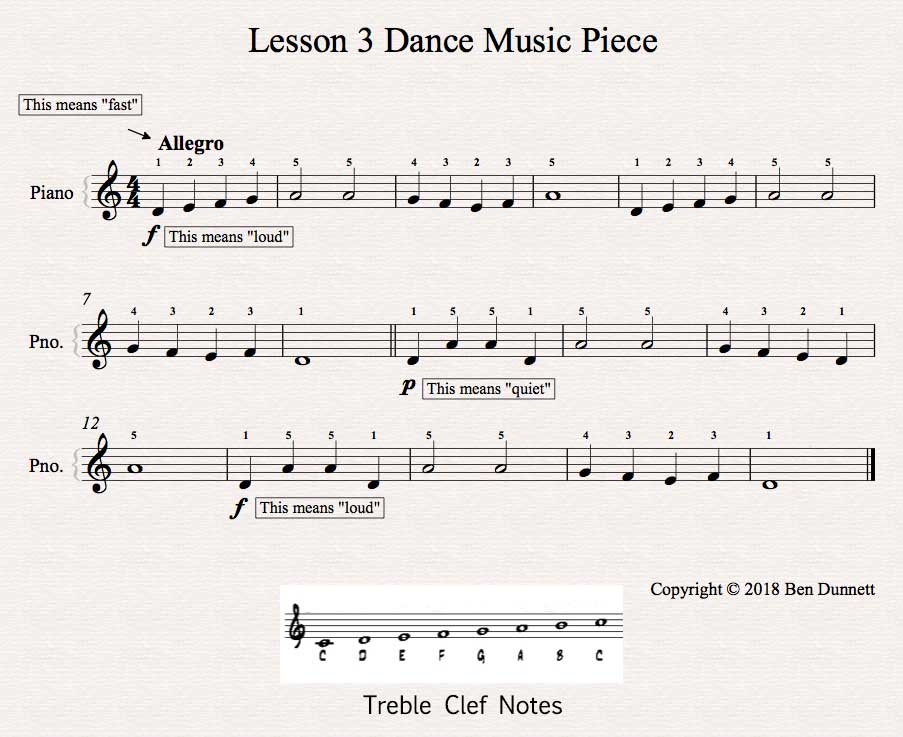 Piano Lesson 3 piece Treble Clef sheet music