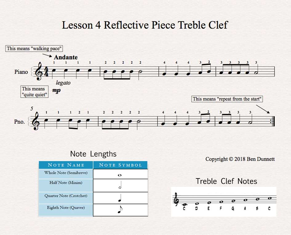 Piano Lesson 4 sheet music Treble Clef version