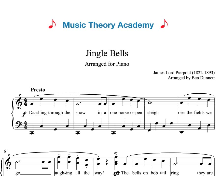 Jingle Bells Music Theory Academy Free Piano Sheet Music Download